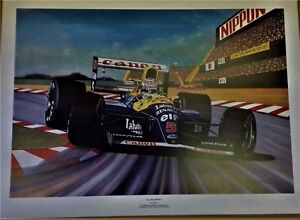 Nigel Mansell 78.5 x 57.5 cms limited edition F1  art print by Colin Carter