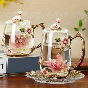 Beauty Novelty Enamel Coffee Cup Mug Spoon Set Flower Tea Glass Hot Cold Drinks
