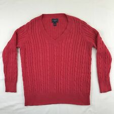 Chaps Classics Women's Sweater Pink V-Neck Cable Knit Size 1X
