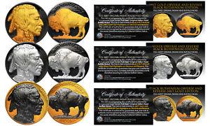 1930's Original Indian Head Buffalo Nickel *Full Dates* BLACK RUTHENIUM Set of 3