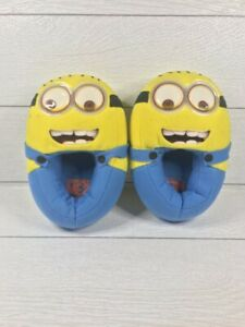 Despicable Me 2 Minion Youth Slippers Yellow Blue Size S 11-12