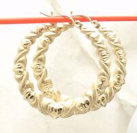 """1 3/8"""" Graduated Diamond Cut Hearts & Kisses Hoop Earrings REAL 10K Yellow Gold"""
