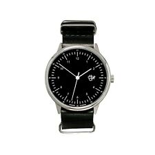 CHEAPO New Harold Black & Silver Dial Black Leather Strap Watch Free UK Postage
