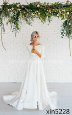 Modern Simple Long Sleeve Satin  A Line Wedding Dress With Open Back Sweep Train
