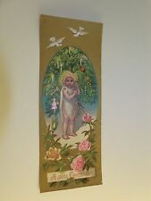 "Victorian Christmas Trade Card Bookmark ""A Joyful Christmas"" Child Tree Doves"