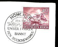 1943 Nazi Germany Wehrmacht Tiger Tank Stamp Postmarked on Hitler 54 Birthday