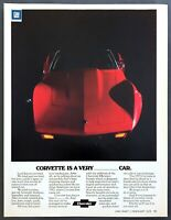 "1975 red Chevrolet Corvette photo ""One of a Kind Car"" vintage promo print ad"