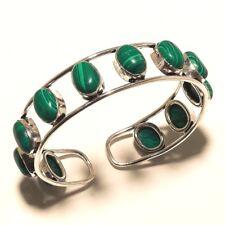 Alluring Silver Plated Malachite Cuff Bracelet Bangel Gemstone Jewelry