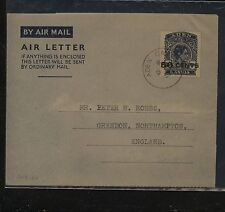 Aden  air letter sheet revalued to 50 cents to England       APL 0424