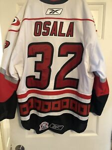 Charlotte Checkers Game Used Signed Autogrqphed Jersey Oskar Osala #32