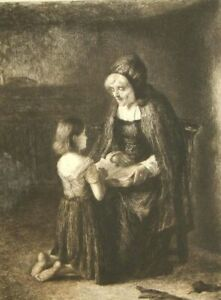 Paul Rajon after George P. Chalmers antique etching; 1800's; The Prayer