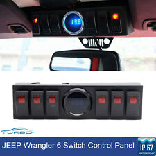 6 Switch Control Panel System LED Digital Voltmeter For 07-16 Jeep Wrangler JK