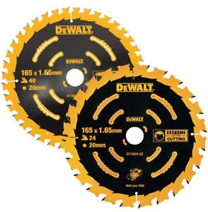 DEWALT DT10624-QZ and DT10640-QZ 165 mm Extreme Circular Saw Blades (set of 2)