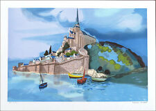 Georges LAMBERT French Castle Scene SIGNED Original Lithograph