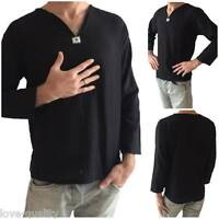 Men's Black T-Shirt 100% Cotton Thai Hippie Shirt V-Neck Beach Yoga Top