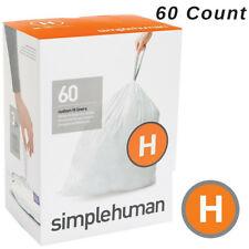Simplehuman Code H Trash Bags 60 Custom Fit Drawstring Can Liners 30-35L Garbage