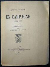 DUPONT: En Campagne - Impressions d'un officier de légère / 14-18 / 1915 EO