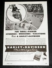 1946 OLD MAGAZINE PRINT AD, HARLEY-DAVIDSON MOTORCYCLES, THRILL PACKED EVENINGS!