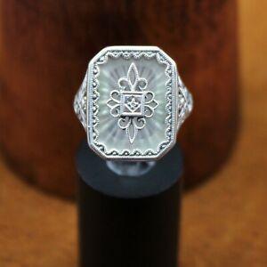 "Trufili Art Deco Victorian Style ""Camphor Glass & Diamond"" Ring Sterling Silver"