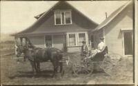 Benjamin Herman Langworthy Home - Owatonna MN in Message Horse Wagon RPPC