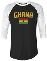 Threadrock Ghana Flag Unisex Raglan T-shirt Ghanaian Accra Soccer
