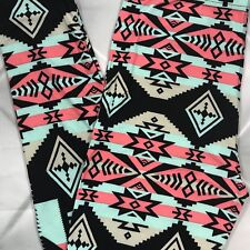 NWT Aztec Print Buttery Soft Leggings One Size OS S M L Mint Coral