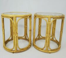 Vintage Pair Bamboo Rattan End Table With Glass Top Tiki Bohemian Mid-Century