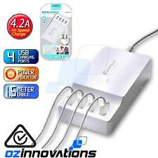 4 Port USB Charger Charging Station Hub 4.2A iPhone Galaxy iPad Tablet HTC