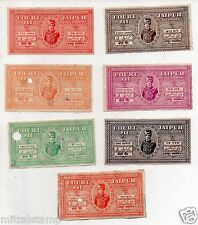 INDIA PRE INDEPENDENCE JAIPUR STATE KING MAN SINGH 7V COURT FEE SET RARE
