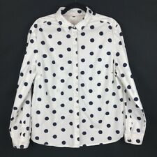 Boden The Classic Shirt White Blue Polka Dot Button Up Long Sleeve Size 16 R