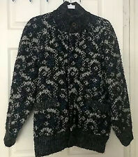 Vintage Men's Full Zip Textured/Knit Jacket Sweater Wool Reversible Size Small