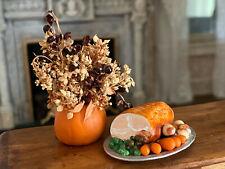Vintage Miniature Dollhouse Sculpted Holiday Dinner, Pumpkin Floral Arrangement