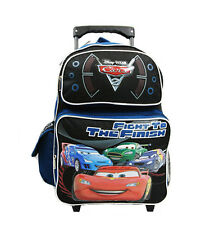 """Disney Pixar Cars 2 Boys 16"""" Blue School Rolling Backpack Fight to the Finish"""