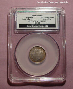 1887 QUEEN VICTORIA YOUNG HEAD SIXPENCE - Graded Good EF by CGS