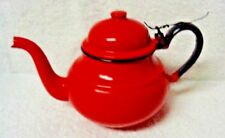 Red Enamelware Black Edge Hot Water  Small Teapot