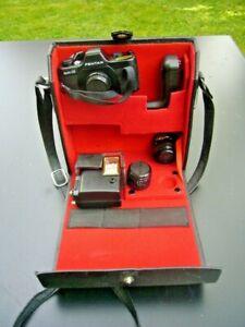 Fotoapparat - Pentax Auto 110 - mit Winder - Blitz - 2 zusätzliche Objektive