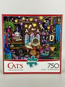 NEW BUFFALO GAMES CATS 750 PIECE JIGSAW PUZZLE Evening Tea and Tales