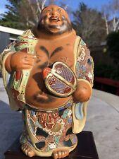 "Antique Japanese Kutani Moriage Hotei Statue Marked Extra Large 10""/25cm Tall"