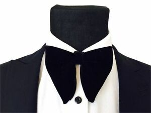 Mens FERUCCI pre tied Oversized Bow Tie - Black Velvet Bowtie, Mens big bow tie