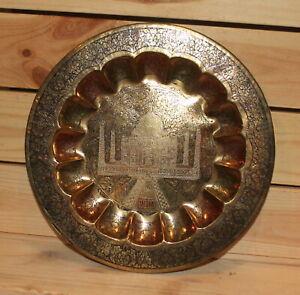 Vintage India Taj Mahal souvenir hand made floral brass wall hanging plate