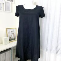 J. Jill Pure Jill Linen Black Short Sleeve Pullover Dress Women's Size S/P