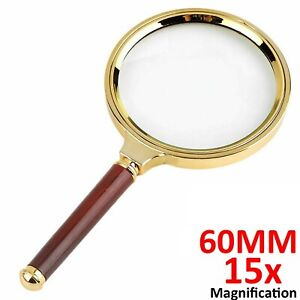 60mm Handheld 15X Magnifier Magnifying Glass Loupe Reading Jewelry repairing Aid