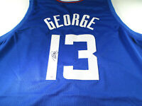 PAUL GEORGE / AUTOGRAPHED LOS ANGELES CLIPPERS BLUE CUSTOM BASKETBALL JERSEY COA