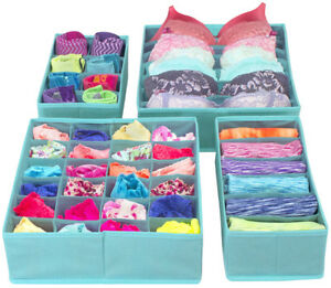 Set of 4 Foldable Drawer Dividers, Storage Boxes, Closet Organizers, Under Bed