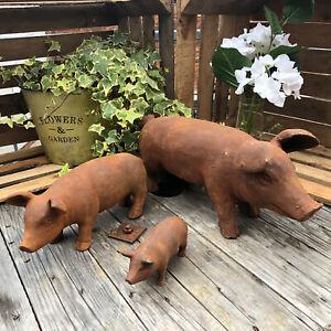 Cast Iron Pig Outdoor Farm Garden Patio Lawn Sculpture Statue Animal Ornaments