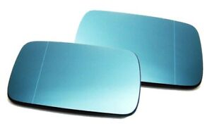 For BMW E46 E39 Right+Left Wing Mirror Glass Blue Heated Aspheric Anti Blind