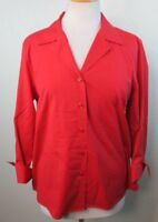 TALBOTS Womens Button Down Dress Shirt, Size 14, Solid Red, Wrinkle Free Stretch