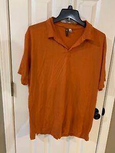 IBEX Men's Rust Merino Blend Polo Shirt Size L