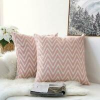 Chevron Pink White Square Scandinavian embroidery Indoor cushion cover 18' NEW