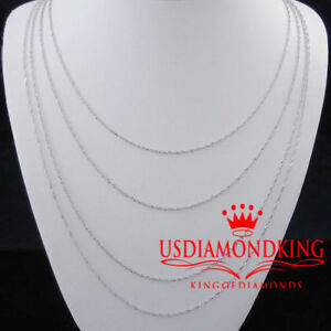 Real 100% 10K White Gold .5mm Thin Singapore Twister Rope Chain Necklace Ladies